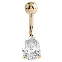 14k Yellow Gold Pear Prong Set Navel : 1.6mm (14ga) x 10mm x Clear Crystal