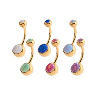 Bright Gold Double Jewelled Synthetic Opal Navel