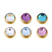 Bright Gold Screw-on Jewelled Balls