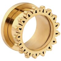 Bright Gold PVD Ornate Sun Threaded Tunnel