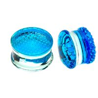 Blue Honey Comb Double Flared Glass Plugs