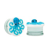 Blue Octopus Double Flared Glass Plug