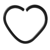 Black Steel Annealed Heart Continuous Ring