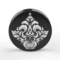 Custom Laser Engraved Black Acrylic Plug - 'Damask 03'