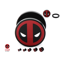 Screw Fit Black Acrylic Plug with Dead Pool Logo Front