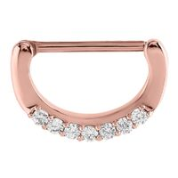 Rose Gold Prong Set Jewelled Nipple Clicker