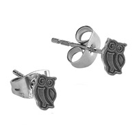 Pair of Surgical Steel Ear Studs - Owl : Owl