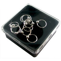 Box of 10 Sterling Silver Fixed Ball Nose Rings