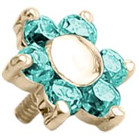 18k Yellow Gold Internally Threaded Prong Set Jewelled Flower : 14g (M1.2) x 5mm x Mint Green