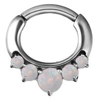Steel Prong Set Opal Hinged Segment Clicker