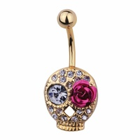 Gold Plated Steel D®a de Muertos Skull Fashion Navel : 1.6mm (14ga) x 10mm