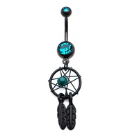 Black PVD Dream Catcher Navel : 1.6mm (14ga) x 10mm x Blue Zircon