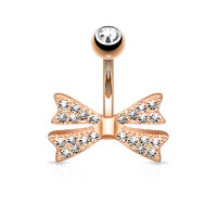 14k Rose Gold Plated Gem Paved Bow Tie Navel
