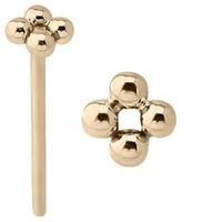 14k Gold Straight Micro Beaded Nose Stud : 18g (1.0mm) x 15mm
