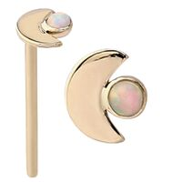14k Gold Straight Opal Set Moon Nose Stud : 18g (1.0mm) x 15mm