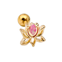 Gold Plated Lotus with Synthetic Opal Barbell