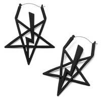 Black Lightning Bolt Star Plug Hoop Earring