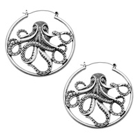 Antique Plated Octopus Plug Hoop Earring
