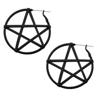 Black Wrapped Pentagram Plug Hoop Earring