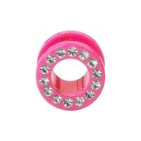 Pink Acrylic Jewelled Flesh Tunnel