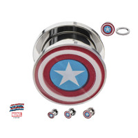 Screw Fit Steel Plug with Captain America Logo Front