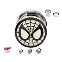 Screw Fit Steel Plugs with Spider-Man Logo Fronts