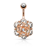 14k Rose Gold Plated Jewelled Rose Navel