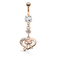 14k Rose Gold Plated Gem Paved Ribbon and Heart Navel