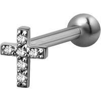 Surgical Steel Decorative Jewelled Cross Micro Barbell : 1.2mm (16ga) x 6mm Clear Crystal