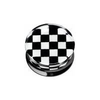 PMMA Silhouette Plug - Black and White Check