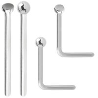 Jewellers Plain Nose Studs Flat and Ball Sterling Silver