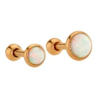 Rose Gold Plated Opal Cabochon Disc Barbell