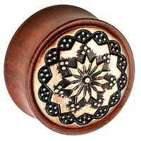 Rose Wood Plug with Brass Floral Pattern
