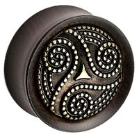Ebony Wood Plug with Brass Dotted Swirl