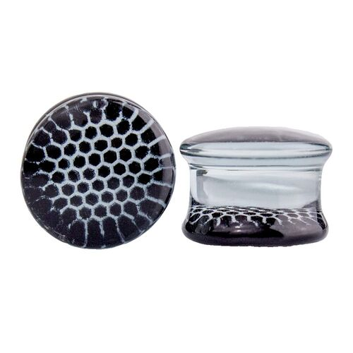 Pyrex Glass Plug with Black Honeycomb : 14mm