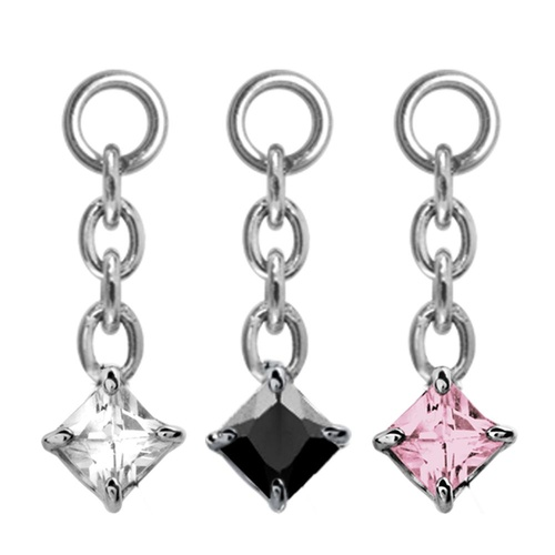 Steel Prong Set Square Swarovski : Black