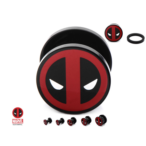 Screw Fit Black Acrylic Plug with Dead Pool Logo Front : 5mm