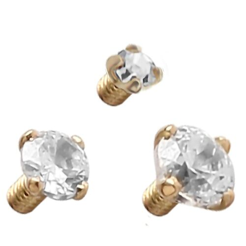 14ct Yellow Gold Internally Threaded Prong Set Jewelled Attachment : 2.5mm x Clear Crystal
