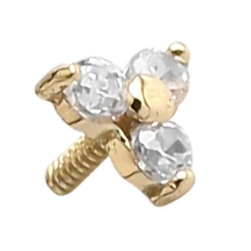 18ct Yellow Gold Internally Threaded Prong Set Jewelled Trinity