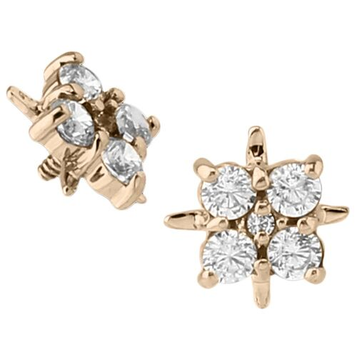 14k Yellow Gold Internally Threaded Jewelled Cluster : 16g (M0.9)