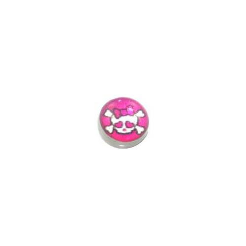 Screw On Picture Ball Girly Skull and Crossbones