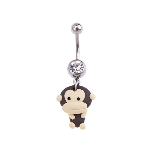 Surgical Steel Clay Monkey Navel : 1.6mm (14ga) x 10mm