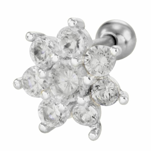 Surgical Steel Barbell with Jewelled Flower : 1.2mm (16ga) x 6mm