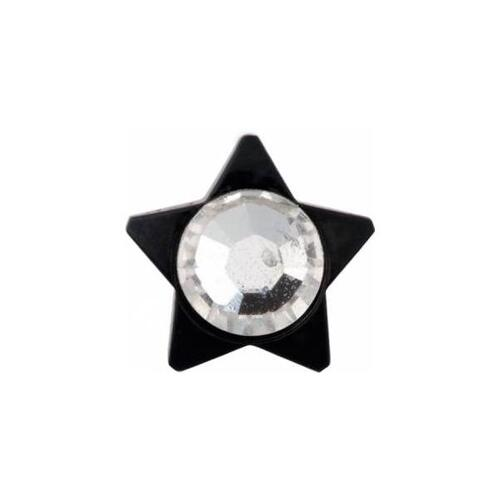 Titanium Blackline® Jewelled Star for Internally Threaded Jewellery : 4mm x Clear Crystal