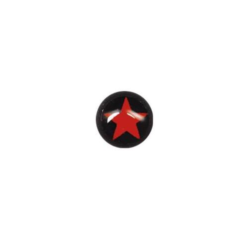 Steel Blackline® Threaded Ball - Red Star on Black : 1.6mm (14ga) x 5mm x Red/Black