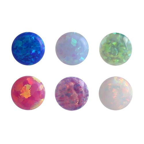Synthetic Opal Threaded Ball : 1.2mm (16ga) x 3mm x Purple