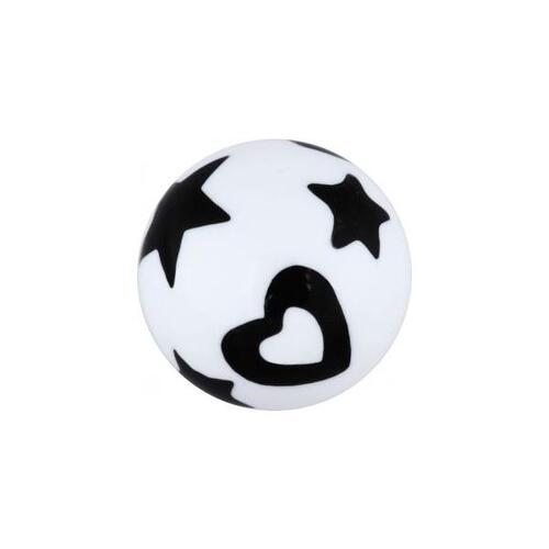 Acrylic Stars and Hearts Threaded Ball : 1.6mm (14ga) x 5mm x Black/White