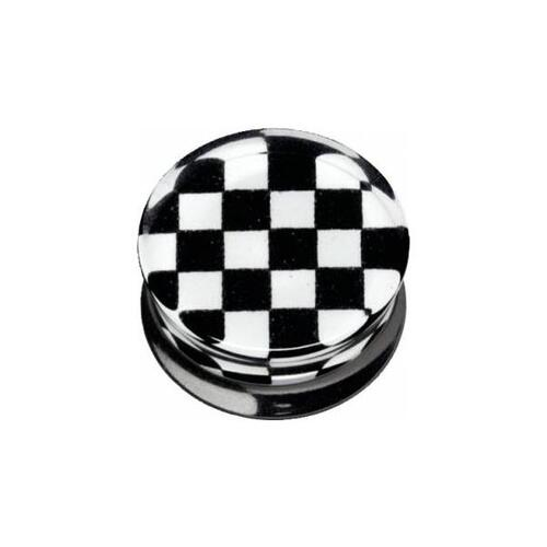 PMMA Silhouette Plug - Black and White Check : 18mm x Black/White