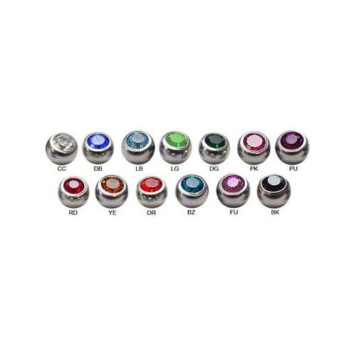 Steel Basicline® Jewelled Threaded Ball : 1.6mm (14ga) x 5mm x Light Pink - Elstern Product