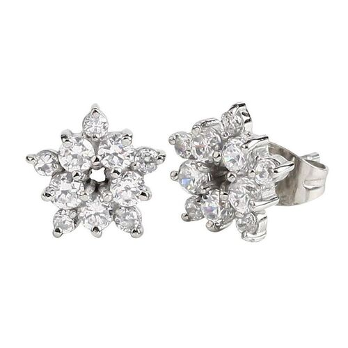 Pair of Surgical Steel Ear Studs - Jewelled Snowflake : Jewelled Snowflake